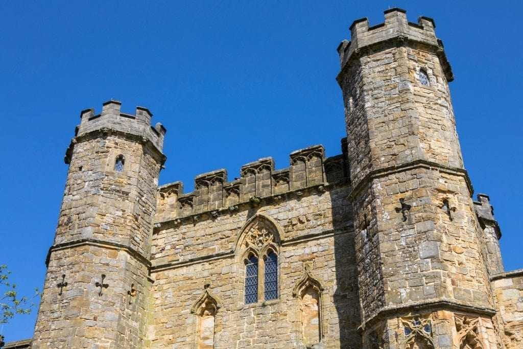 Beautiful picture of old English castle taken on sunny blue day