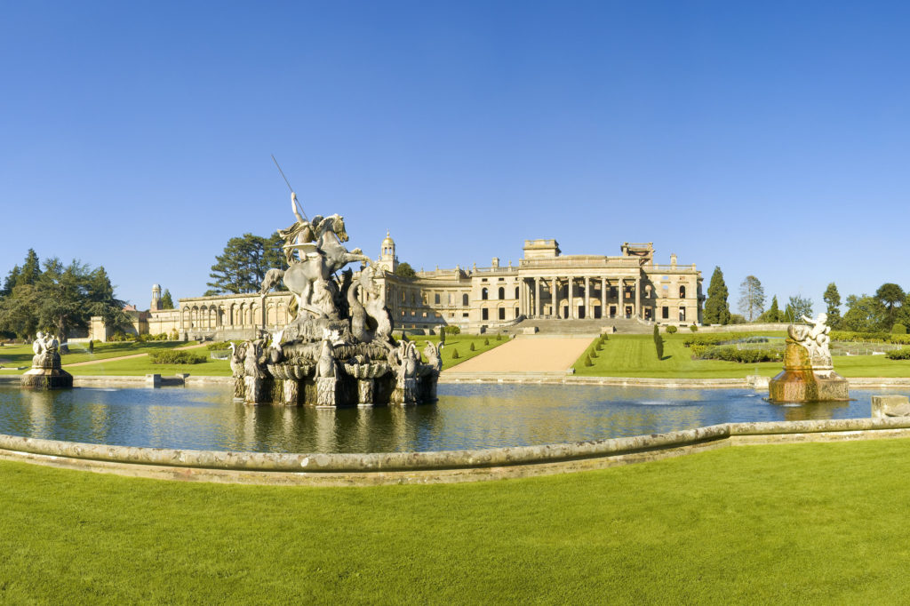Picture taken of grand old English Heritage site Witley Court and its statue sat within water feature