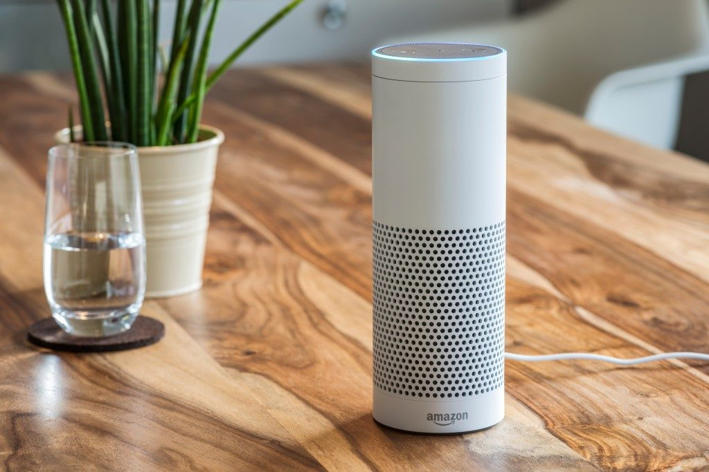 picture of Amazon Echo audio player smart device on dining room table